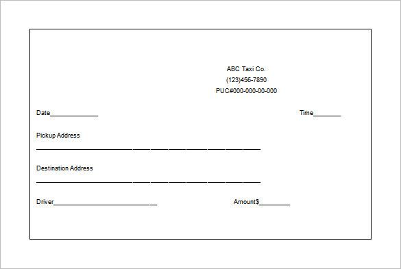 taxi receipt templates free 8 sample word pdf template section