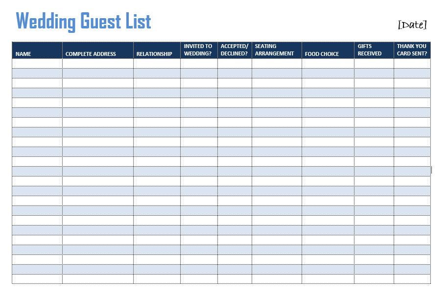 Wedding Guest List Templates – 8+ Free Printable Excel Sample ...