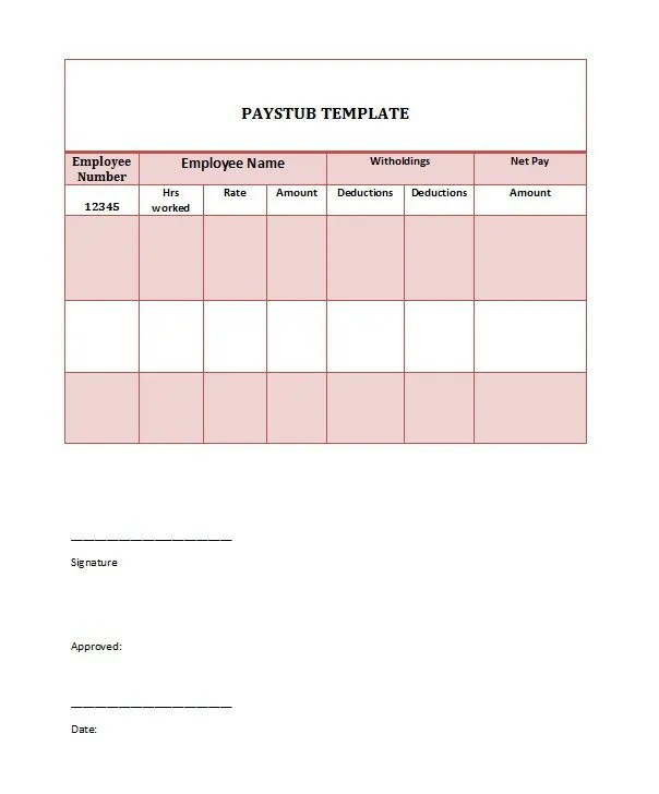 Paycheck Stub Template, Free Paycheck Stub Template, Pay Stub templates