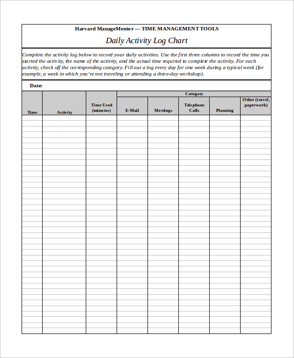 Daily Activity Log Template   Best Free Samples  Template Section
