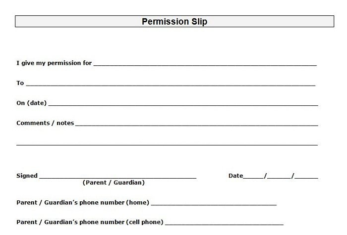 Free Permission Slip Template Field Trip Youth