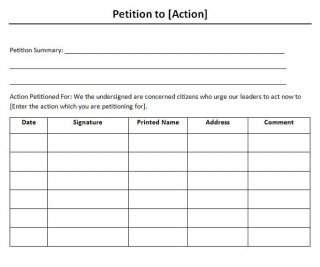 Free petition templates 8 word form letter samples for Template for petition signatures