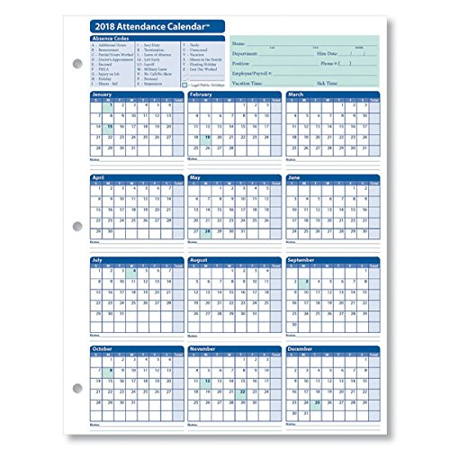 Employee attendance calendar 2018 free tracker pdf excel employee attendance calendar 2018 pronofoot35fo Image collections