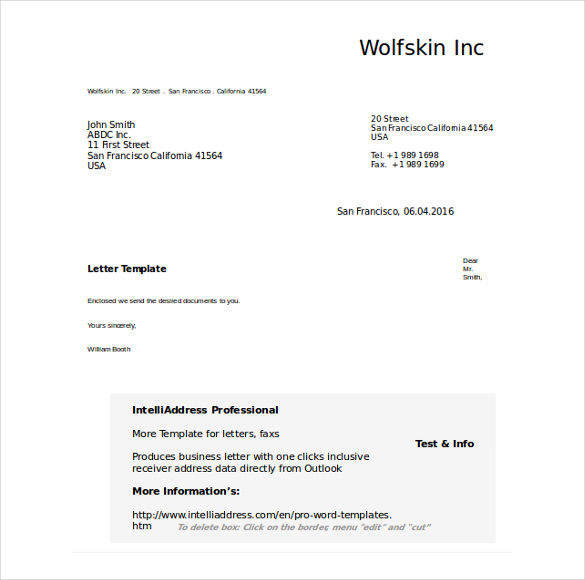 Formal business letter format templates sample example template free business letter template friedricerecipe Gallery
