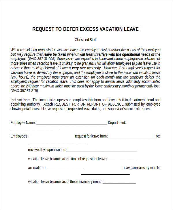 leave of absence letter leave of absence letter templates vacation sick 22734 | Vacation Leave Letter Template
