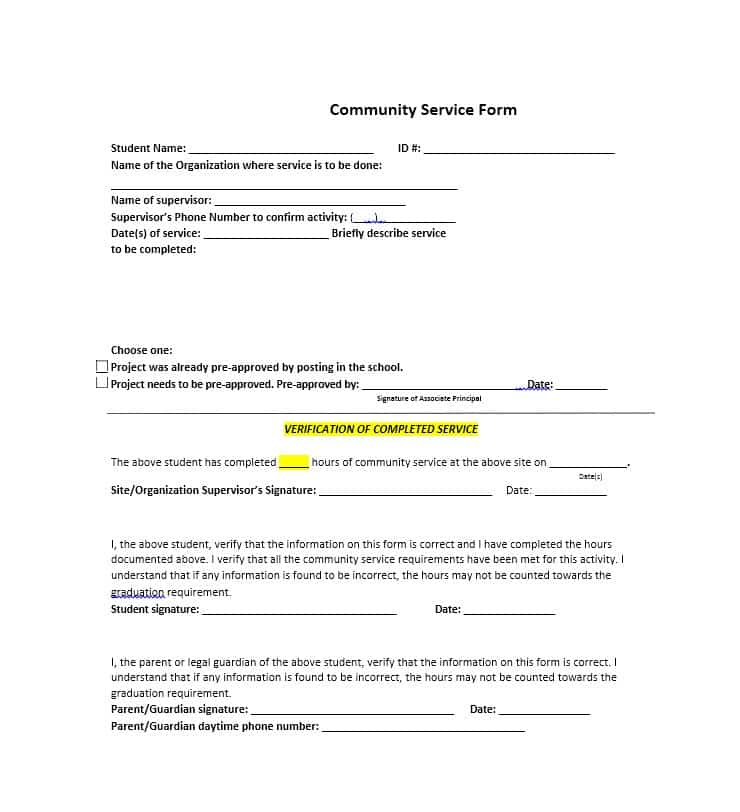 Community Service Letter Template Template Section