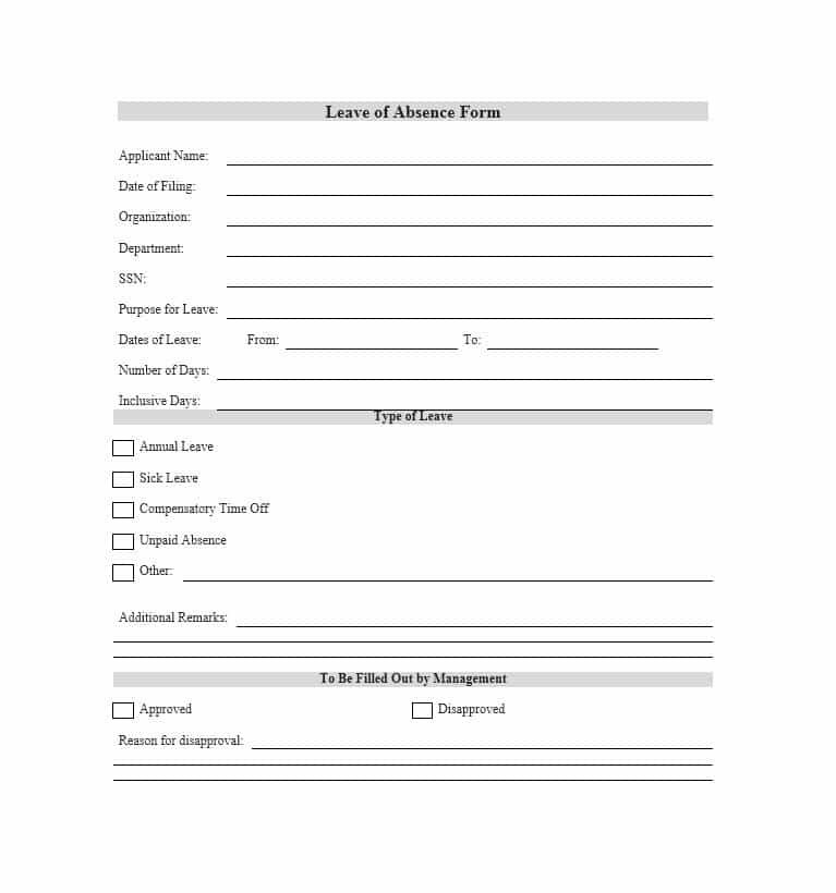 leave of absence letter leave of absence letter templates vacation sick 1355