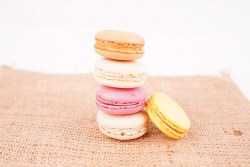 French macaroon biscuits on burlap
