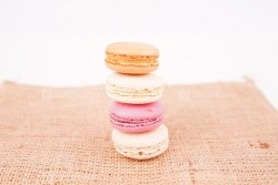 French macaroons on burlap
