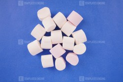 White marshmallow on blue background
