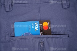 Credit cards in pocket stock image