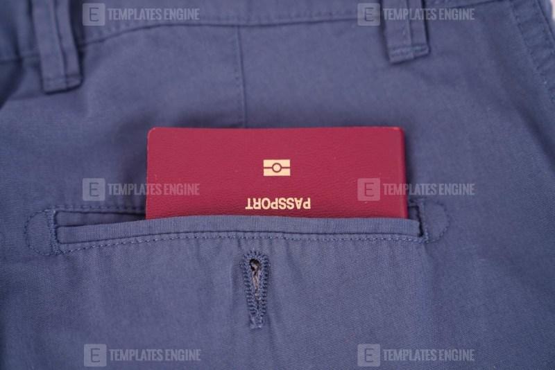 Passport in pocket stock image