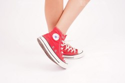 Woman Wears Red Converse All Star