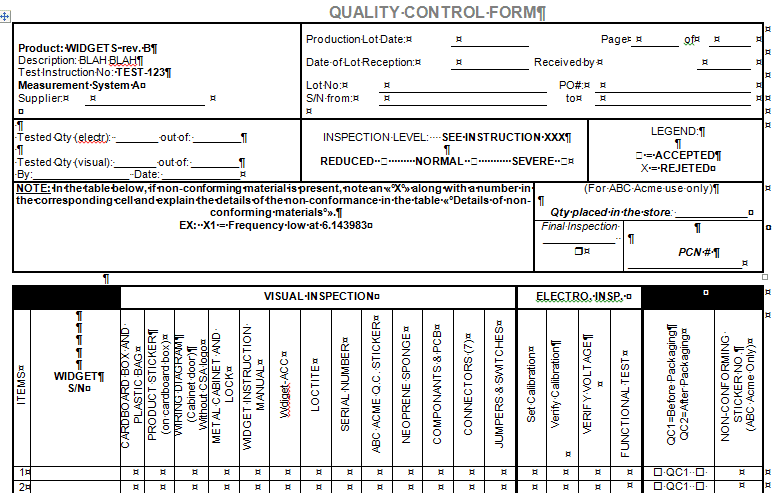 Quality Control Forms for Microsoft Word and Excel