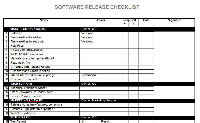 Software release notes checklist templatestaff for Software release notes template doc