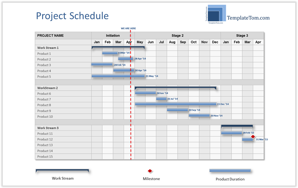 High Level Project Schedule Summary Gantt Chart