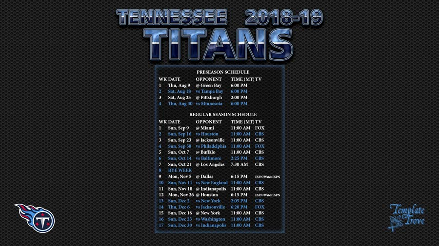 Houston Texans Schedule 2018 19 Printable
