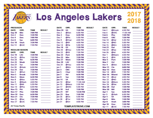 Printable 2017-2018 Los Angeles Lakers Schedule