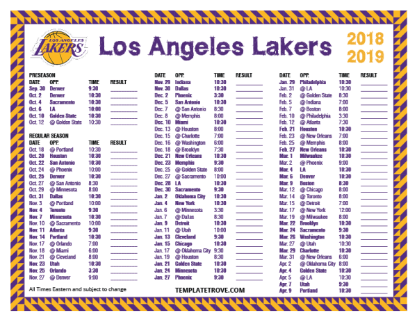 Printable 2018-2019 Los Angeles Lakers Schedule