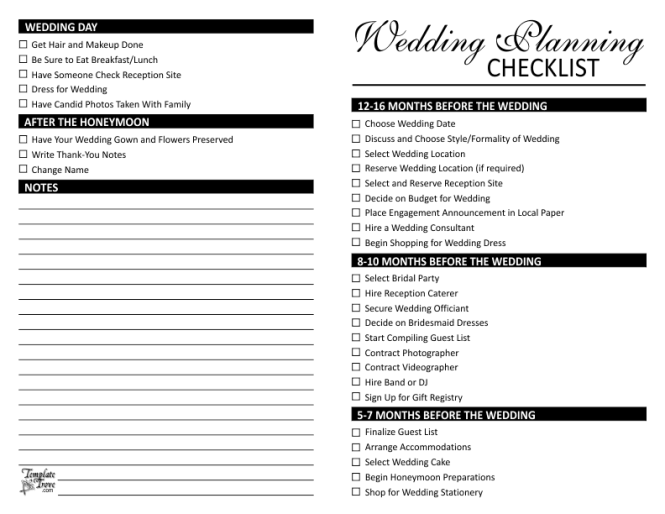 Doc545742 Sample Wedding Planning Checklist Template Free – Wedding Planning Guest List Template