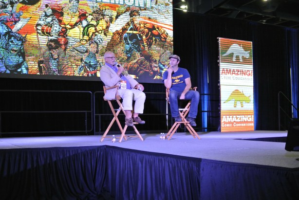 Chris Claremont on stage talking about how he started working for Marvel | Photo Credit: Danniel Slade