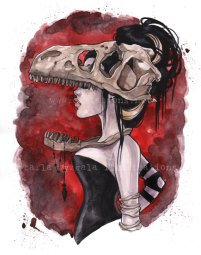 T-Rex red Dinosaur Bone Watercolor