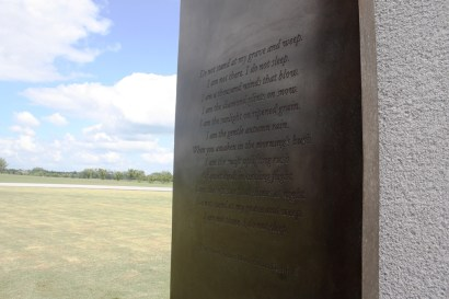 Few words are more perfect than Mary Elizabeth Frye's at the Aggie Bonfire Memorial.