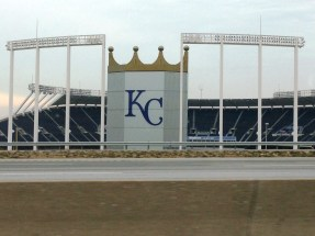 Totally geeked out driving past Kauffman and Arrowhead -- narrowly missed sites during #OmahaOrBust.