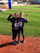 Sissy and Emily just after crossing home plate in the Trenton Half.