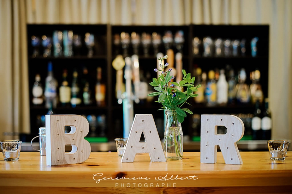 Photo of a well stocked wedding bar