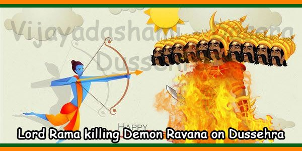 Lord Rama killing demon Ravana on Dussehra