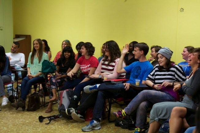 Students listening to the interesting discussion.