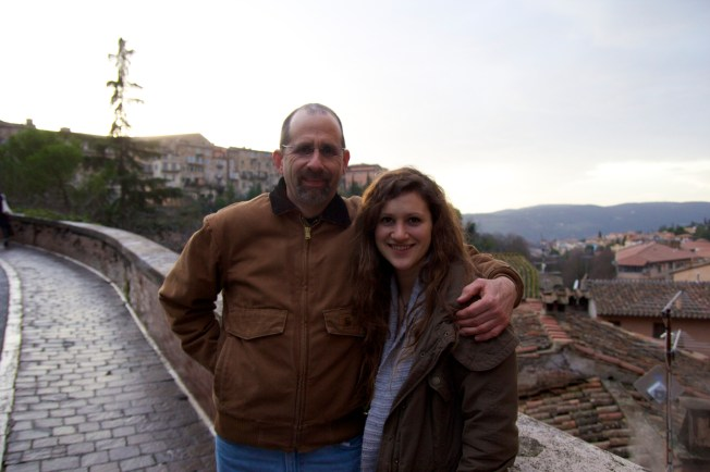 When Dad comes to visit...take him to that town where you studied and lived for 3 months few years ago. (Perugia)