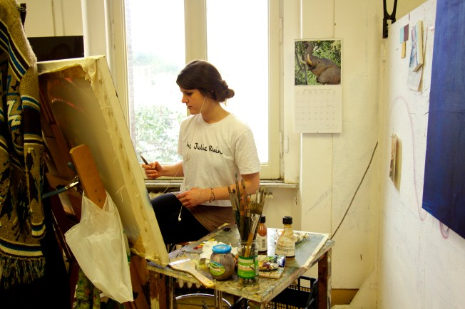"""This art student """"practically lives"""" in the art studio."""