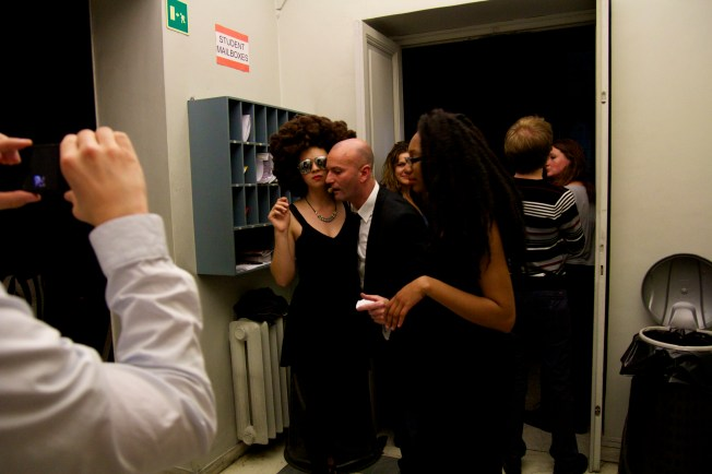 Gianni was found backstage with two of the models from the fashion show!