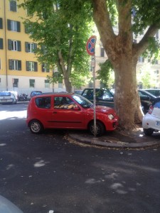 Earning the Silver, this driver is commended for blatantly ignoring the no parking sign, among other things.