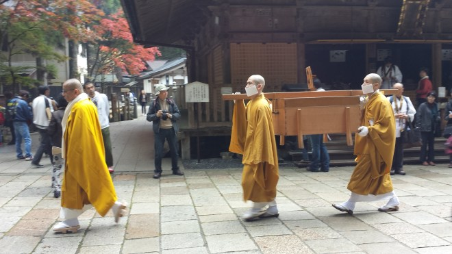 It is said that Kobo Daishi entered his eternal meditation in 835. Twice a day, monks ritually offer meals to Kobo Daishi at the mausoleum as seen in this picture.