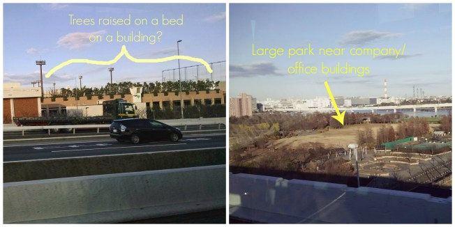 What looks like raised beds or trees planted on this building can be seen from the highway, as well as a large park near office buildings.