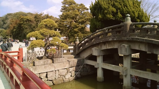 A beautiful bridge near the entrance of Kotoku-in that is too old and delicate to walk on!