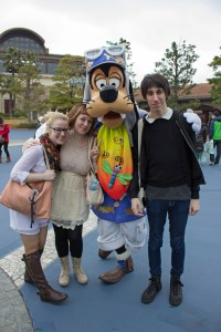 Goofy was so happy to get a shot with the TUJ students Megan Smith, Carlos Casademont, and even me! Goofy was wearing his DisneySea attire.