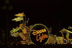 Each of the floats in the parade were incredibly intricate, and consists of thousands of lights. Most of the floats featured the characters sayings, and all were in English.