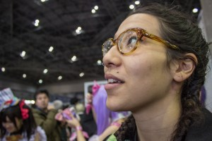 TUj student Naomi Polite is in awe of just how large the exhibition halls were, especially at the large screens above many booths screening promos for new anime.