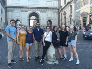 A lucky group of painters who just saw His Holiness, Pope Francis, standing outside Santa Maria del Popolo.