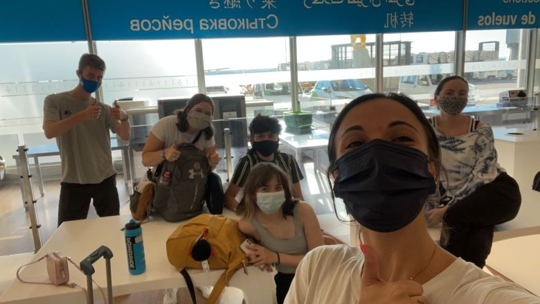 Temple Spain students and I in Madrid-Barajas International Airport