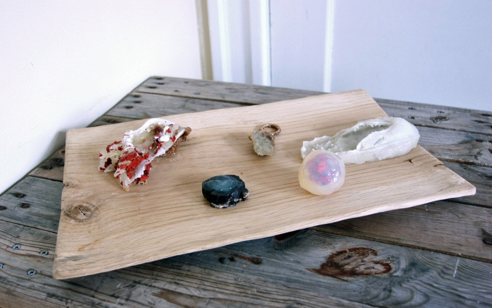 sea bed, dimensions variable, acrylic paint and wood tray, 2014
