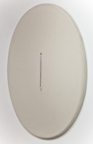 Curtis Ames, Occluded Mirror, 2013; mirror, canvas, zipper, 30 by 20½ by 1½ inches. Collection of Thomas DeWitt.  (Image: Candice Greathouse)