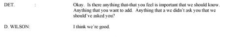 Screen shot of the transcription of Darren Wilson's debriefing.