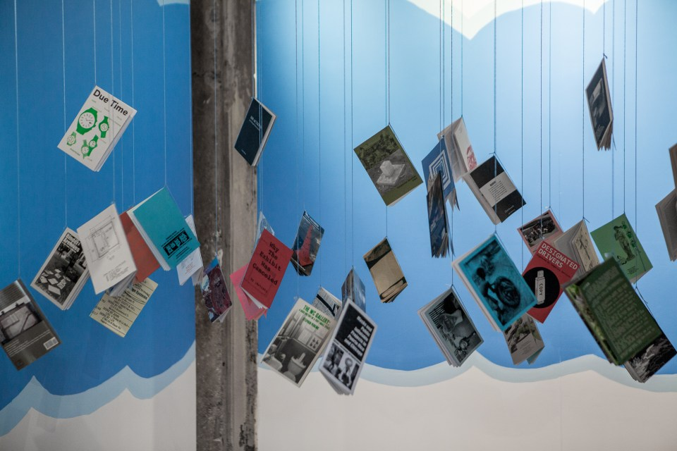 "Temporary Services. ""Booklet Cloud"" (installation view) 2015. ""Loving After Lifetimes of All This"" Curated by Danny Orendorff, 2015. Center for Craft, Creativity & Design, Asheville, NC. Photo: Dawn Roe"