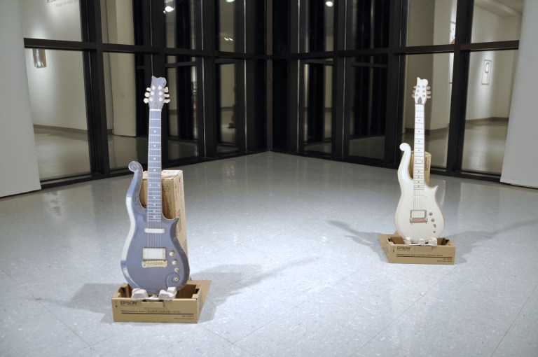 Barrois created handmade replicas of Prince's iconic guitars for the exhibition Avez Vous un Crayon? at UIS Visual Art Gallery, Springfield, IL. August 25-September 15, 2016.