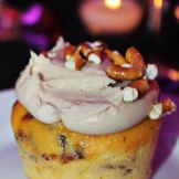 """Piggylicious"" Bacon Cupcake with Maple Frosting and Pretzel Crunch featuring Nueske's Applewood Smoked Bacon #EpcotinSpring #FlowerandGarden"